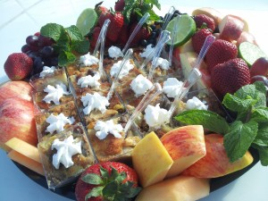 Fruit Platter with Bread Pudding